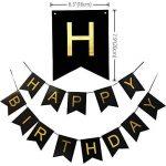 KUNGYO Bon Anniversaire Décorations,Bannière de Happy Birthday Noir,Argent Étoile&Ballon à Latex,Tourbillons suspendus, Fournitures de Fête Parfaites de la marque KUNGYO image 1 produit