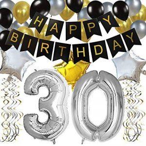 KUNGYO Bon Anniversaire Décorations,Bannière de Happy Birthday Noir,Argent Étoile&Ballon à Latex,Tourbillons suspendus, Fournitures de Fête Parfaites de la marque KUNGYO image 0 produit