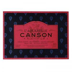 L'Aquarelle Canson Héritage Bloc collé 4 côtés 20 feuilles grain satiné 300 g 26 x 36 cm Blanc de la marque Canson image 0 produit