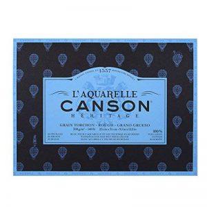 L'Aquarelle Canson Héritage Bloc collé 4 côtés 20 feuilles grain torchon 300 g 23 x 31 cm Blanc de la marque Canson image 0 produit