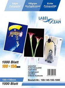 LabelOcean - 100 Feuilles Papier Photo 10x15 cm (100x150mm) Premium Haute Brillance 180g de la marque LabelOcean image 0 produit