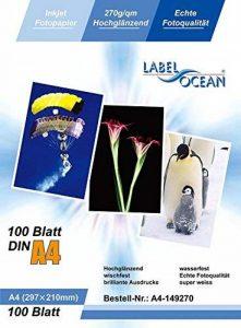 LabelOcean - 100 Feuilles Papier Photo A4 Premium Haute Brillance 270g de la marque LabelOcean image 0 produit