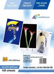 LabelOcean Premium Papier Photo A4230g/qm High Glossy Ultra brillant Imperméable 100feuilles de la marque LabelOcean GmbH image 0 produit