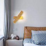 Lampe Murale moderne minimaliste de chevet chambre à coucher salon allée créative étude lampe applique murale lire gradation rotation,32mm, grain de bois, Wu ji la gradation de la marque LzxcJ image 2 produit