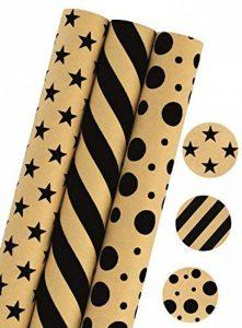 LaRibbons Papier Cadeau - 75 sq ft. - Etoiles / Stripes / Dots Print - Vendu 3Pcs de la marque LaRibbons image 0 produit