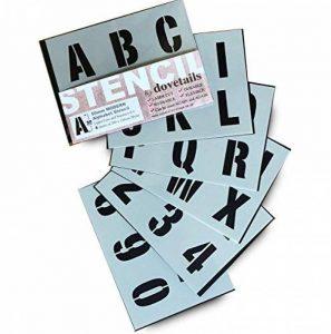 Lettrage Pochoir Big numéros de lettres de l'alphabet 50mm de haut 5cm moderne Capitales sur 6feuilles de 200x 148mm de la marque Dovetails image 0 produit