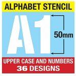 Lettrage Pochoir Big numéros de lettres de l'alphabet 50mm de haut 5cm moderne Capitales sur 6feuilles de 200x 148mm de la marque Dovetails image 2 produit