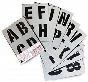 Lettrage Pochoir lettres de l'alphabet/chiffres 100mm de haut (10,2cm) Très grande moderne Capitales sur 9feuilles de 295x 200mm de la marque Dovetails image 0 produit