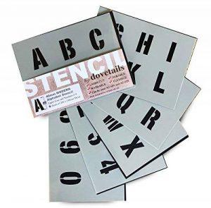 Lettrage Pochoir lettres de l'alphabet et chiffres 0–940mm de haut 4cm moderne Capitales sur 6feuilles de 200x 148mm de la marque Dovetails image 0 produit