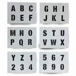 Lettrage Pochoir lettres de l'alphabet et chiffres 0–940mm de haut 4cm moderne Capitales sur 6feuilles de 200x 148mm de la marque Dovetails image 1 produit