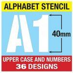 Lettrage Pochoir lettres de l'alphabet et chiffres 0–940mm de haut 4cm moderne Capitales sur 6feuilles de 200x 148mm de la marque Dovetails image 2 produit
