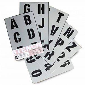 Lettrage Pochoir lettres de l'alphabet/numéros 70mm (7cm) de haut Grande moderne Capitales sur 6feuilles de 295x 200mm de la marque Dovetails image 0 produit