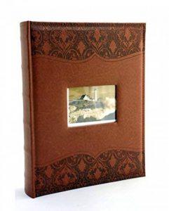 Élégant album photo Luxury piqué de très bonne facture en simili cuir personnalisable à pochettes 10x 15pour 300photos avec mémo–Marron de la marque Capestore image 0 produit