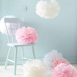 Lights4fun Assortiment DE 9 Pompons Roses, Blancs et Ivoires en Papier de Soie de la marque Lights4fun image 0 produit