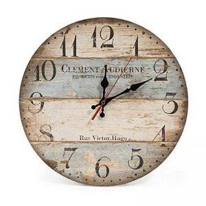 LOHAS Home 30cm Vintage Horloge murale rustique, silencieuse en bois cadran horloge minuteur pour la maison Salon Chambre Bureau Café Bar Decor (Victor Hugo) de la marque LOHAS Home image 0 produit