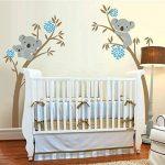 Lot d'autocollants muraux Motif maman et bébé koala sur un arbre Idéal pour décorer une chambre d'enfant/une crèche (Brown-Blue) de la marque BDECOLL image 2 produit