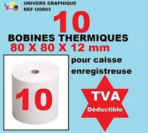 lot de 10 - Bobine Papier Thermique, 80 x 80 x 12 mm, Lot de 10 rouleaux thermique 80x80x12 pour ticket de caisse - bobines de papier thermiques pour imprimante de tickets de caisse ou caisse enregistreuse - papier blanc haute qualité - marque univers gra image 0 produit