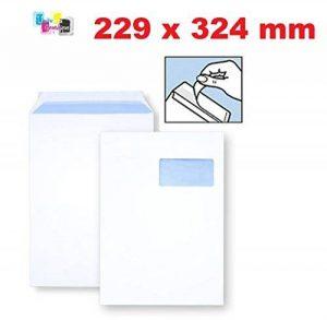 lot de 10 ex Grande enveloppe avec fenetre pochette courrier A4 - C4 papier kraft blanc 90g format 229 x 324 mm une enveloppe blanche avec fenetre 50 x 100 mm fermeture bande adhésive autocollante siliconnée de la marque UNIVERS GRAPHIQUE image 0 produit