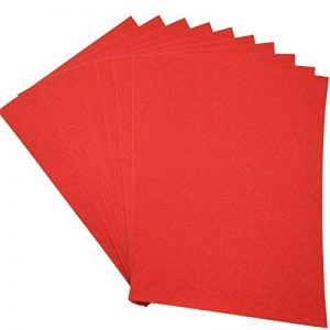 Lot de 10 feuilles de papier cartonné pailleté A4 pour carte DIY Cadeau d'anniversaire de Noël décoration patchwork Bling bling (rouge) de la marque SuperHandwerk image 0 produit