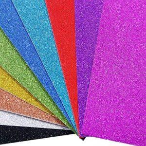 Lot de 10 feuilles de papier cartonné pailleté A4 pour carte DIY Cadeau d'anniversaire de Noël décoration patchwork Bling bling couleurs mélangées de la marque SuperHandwerk image 0 produit