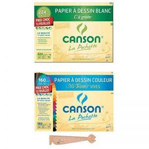 Lot de 2 Pochettes Canson 24x32 : Papier à DessinC à grain blanc + Papier à Dessin Couleur Mi-teintes Vives + 1 Règle en bois Chat Blumie de la marque Blumie Shop image 0 produit