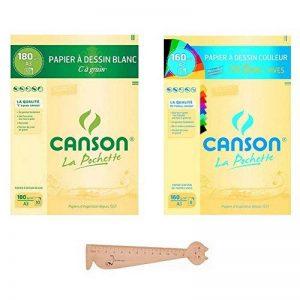 Lot de 2 pochettes Canson A3 : Papier à DessinC Grain Blanc + Papier à Dessin Couleur Mi-Teintes Vives + 1 Règle en Bois Chat Blumie de la marque Blumie Shop image 0 produit