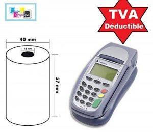 Lot de 20 - Bobine carte bancaire thermique 57 x 40 x 12 m -papier thermique pour CB 57 x 40 x 12 mm - Rouleaux machine carte (TPE)- marque UNIVERS GRAPHIQUE - TVA récupérable de la marque UNIVERS GRAPHIQUE image 0 produit