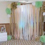 Lot de 20 décorations de fête en papier de soie Furuix - Vert menthe, crème, doré - Fleurs en pompons, guirlande à pompons, guirlande à cercles - Décoration rustique de mariage, fête prénatale, enterrement de vie de jeune fille, anniversaire de la marque image 2 produit