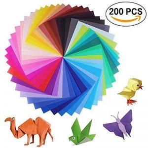 Lot de 200feuilles de papier origami 2tailles, 50couleurs vives recto pour travaux manuels, lot de 100yeux mobiles de la marque Sunerly image 0 produit