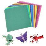 Lot de 200feuilles de papier origami 2tailles, 50couleurs vives recto pour travaux manuels, lot de 100yeux mobiles de la marque Sunerly image 1 produit