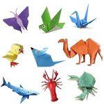 Lot de 200feuilles de papier origami 2tailles, 50couleurs vives recto pour travaux manuels, lot de 100yeux mobiles de la marque Sunerly image 2 produit