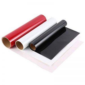 Lot de 3 Papier de Transfert, Vinyle De Transfert De Chaleur pour Les T-Shirts, Tasses, Tapis de souris, Casse-tête, Céramique, Verre; 30.5 * 152cm, Rouge, Blanc et Noir de la marque HOBFU image 0 produit