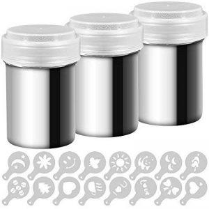 Lot de 3saupoudreuses en acier inoxydable pour dragées de cacao et de café avec couvercle à mailles fines, avec 16 emporte-pièces par Aifuda de la marque AIFUDA image 0 produit