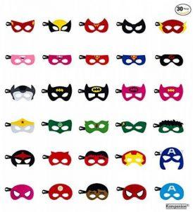 Lot de 30 Pièces de Masque Super-héros de Fête, Idéal pour les Anniversaires, Halloween, Cosplay, Remplisseur de Sac de Fête Etc, Masque en Feutre avec Corde Elastique Réglable, pour les Ages 3-Plus de la marque Kompanion image 0 produit