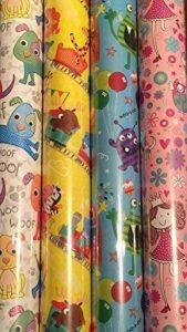 Lot de 4 feuilles de Papier cadeau pour enfant Motif princesse/indiens &chevaux/Lion/singe de la marque Swoosh Supplies image 0 produit