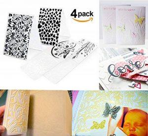 Lot de 4 Pochoir à Gaufrer Damassé Plastique Transparent 14,7 x 10,5cm pour carte bricolage, boîte cadeau bricolage, fabrication de cartes de Noël de la marque ilauke image 0 produit