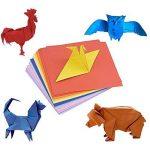 Lot de 400feuilles de papier origami double face 4 tailles, 10couleurs vives assorties et 100yeux mobiles de la marque Sunerly image 1 produit