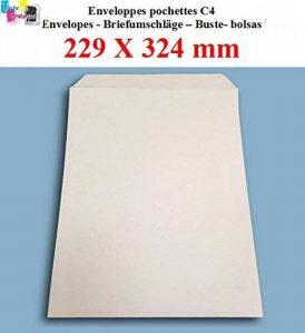 lot de 50 Grande enveloppe pochette courrier A4 - C4 papier kraft blanc 90g format 229 x 324 mm une enveloppe blanche avec fermeture bande adhésive autocollante siliconnée de la marque UNIVERS GRAPHIQUE image 0 produit