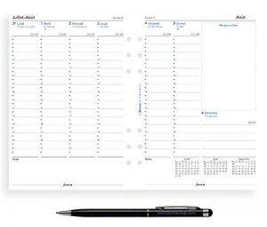 Lot Filofax Recharge Format A5 2018 2019 Français 1 semaine sur 2 pages Vertical + Stylo bille Blumie de la marque Blumie Shop image 0 produit