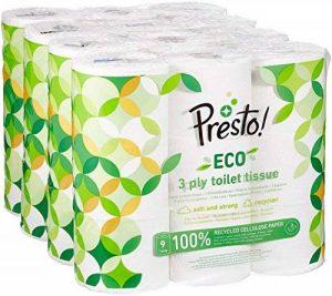 Marque Amazon - Presto! Papier toilette 3 épaisseurs - ECO - Lot de 36 (4 x 9 x 200 feuilles) de la marque Presto! image 0 produit