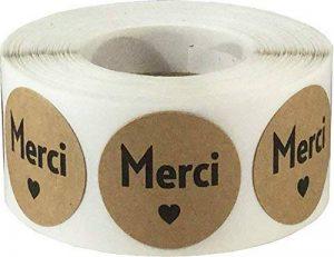 Marron Kraft Cercle avec Noir Merci Autocollants, 25 mm 1 Pouce Rond, 500 Étiquettes sur un Rouleau de la marque InStockLabels.com image 0 produit