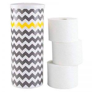 mDesign conteneur de papier toilette autoportant – support de papier WC sur pied – porte-rouleaux pour l'utilisation dans la salle de bain – montage sans perçage – couleur: gris/jaune zigzag de la marque MetroDecor image 0 produit