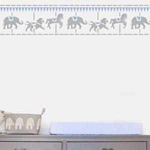 MERRY GO Rond bordure pochoir crèche MURAL MAISON Décoration & loisirs créatifs pochoir peinture murs TISSUS & MEUBLES 190 Mylar réutilisable pochoir - semi transparent pochoir, L/ 25X54CM de la marque Ideal Stencils image 0 produit