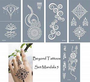 Mikro Filet Tattoo vorlagen Pochoirs pour corps bemalung Autocollant simple et réutilisable 5Sheets Set Mandala de la marque Beyond Paradise image 0 produit