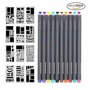 Morkia Bullet Journal Pochoirs, 10 Fineliner Ensemble de Crayons de Couleur avec 12 Pochoirs à Dessin pour la Création de Cartes de Journalisation, Scrapbooking, DIY et Projets Artistiques de la marque Morkia image 0 produit