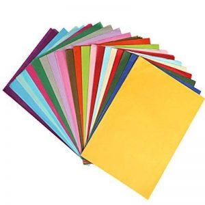 Naler 200 pcs Papier de soie coloré, 20 couleurs assorties A4 taille gsm papier pour Artisanat, papeterie de bureau, décoration de fête bricolage cadeau de la marque Naler image 0 produit