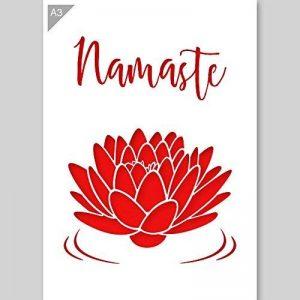 Namaste Lotus Fleur Pochoir - Carton ou plastique - A3 42 x 29,7cm - Fleurs de lotus largeur 24cm - peinture, artisanat, mur, pochoir meubles - enfants réutilisables amical (Plastique) de la marque QBIX image 0 produit