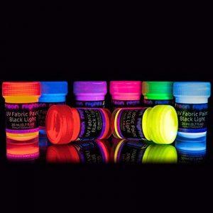 neon nights 8 x Peinture UV Fluo Teinture Tissu Textile T-Shirt Pour Lumière Noire de la marque neon nights image 0 produit