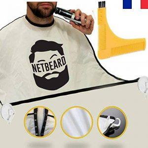 NETBEARD – Pack Premium Barbu Complet – Edition 2018 améliorée - Tablier à barbe avec Double Peigne (pochoir) à barbe pour un rasage propre et précis ! Cadeau original et idéal pour homme barbu. Equipez-vous ou offrez le ! de la marque NETBEARD image 0 produit