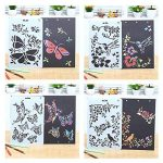 NouveLife Lot de 9 Pochoir Animaux Peinture Pochoir Insecte Oiseaux Papillon 26 x 17,5cm Réutilisable Souple pour Scrapbooking Carte d'Anniversaire Décoration Murale de la marque NouveLife image 3 produit